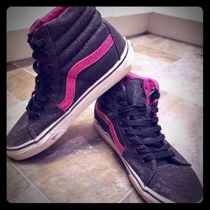 Vans Off the Wall Sk8 glitter black pink high tops